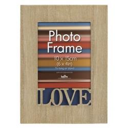 Dřevěný fotorámeček 10x15 s vyřezávaným detailem Love