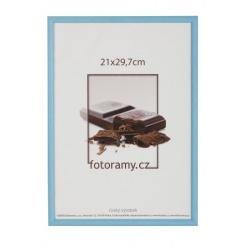 Dřevěný fotorámeček DR0C1K 21x29,7 A4 C4 světle modrý