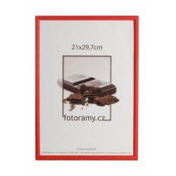 Dřevěný fotorámeček DR0C1K 21x29,7 A4 C8 červený
