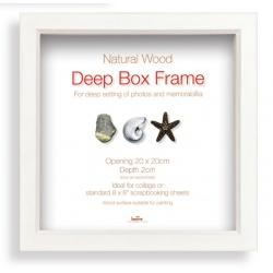Hluboký dřevěný fotorámeček Box 30x30 bílá