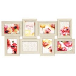 Bílý fotorámeček na více foto s dekorovanou lištou, na 8 fotografií