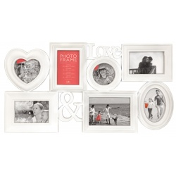 Bílý fotorámeček na více foto s tvarem srdíčka a nápisem LOVE, na 7 fotografií