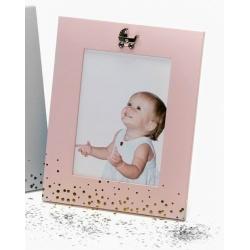 Kovový dětský fotorámeček BABY FACE 13x18 růžový