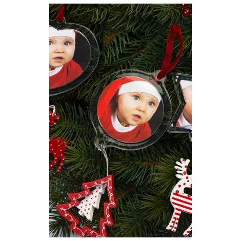 Vánoční ozdoba rámeček kroužek se stromečkem 6,3cm