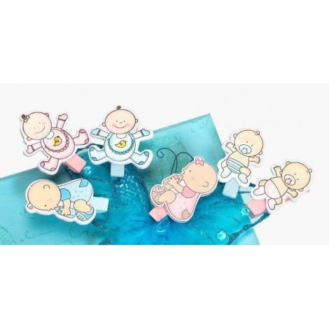 Dětský fotokolíček BABY CLIP modrý 6ks