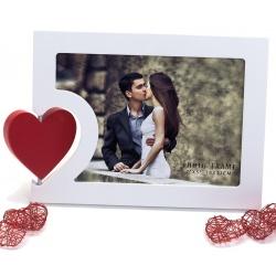 Svatební dřevěný fotorámeček 18x13 BIG HEART