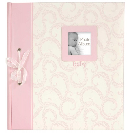 BABY TRADITIONAL klasické dětské fotoalbum 28x32/60s. růžové