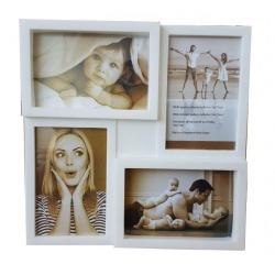 Bílý plastový fotorámeček na více fotek 4 10x15cm KARPEX