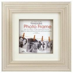 Dřevěný fotorámeček KEEPSAKE 30x30 s paspartou Ivory