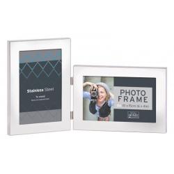 Stříbrný kovový fotorámeček na 2 fotky 10x15 SS