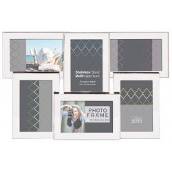 Stříbrný kovový fotorámeček na 6 fotek 10x15 SS