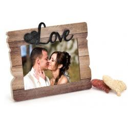 Svatební dřevěný fotorámeček s aplikací FOREVER LOVE 18x13cm