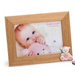 Dětský dřevěný fotorámeček 13x18 BABY BEAR růžový