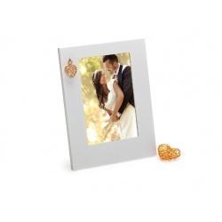 Dřevěný svatební fotorámeček GOLDEN HEART 10x15