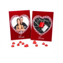Skleněný svatební fotorámeček 13x13 červený