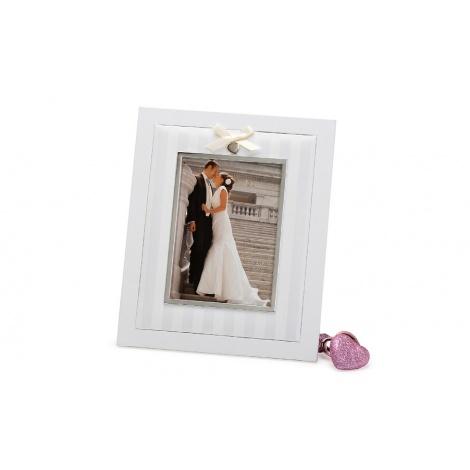 Svatební dřevěný fotorámeček s aplikací NOW 13x18 bílý