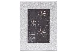 Luxusní dřevěný fotorámeček GLITTER 10x15 stříbrný
