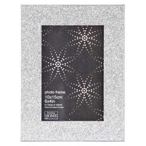 Luxusní dřevěný fotorámeček GLITTER 13x18 stříbrný